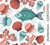 seamless pattern  underwater...   Shutterstock .eps vector #1269214531