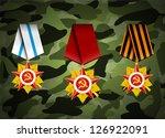 vector set of military medals ... | Shutterstock .eps vector #126922091