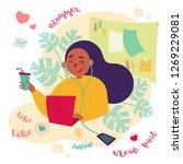 girl female freelance blogger... | Shutterstock .eps vector #1269229081