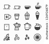 coffee icons with white...