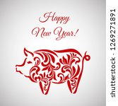 pig  symbol of 2019 on the... | Shutterstock .eps vector #1269271891