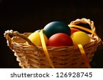 easter eggs with yellow ribbon... | Shutterstock . vector #126928745
