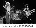 Small photo of Uniondale, NY / USA - February 13, 1975: Robert Plant and Jimmy Page of legendary rock band Led Zeppelin perform at Nassau Coliseum on their 1975 North American tour.