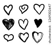 set of nine hand drawn heart.... | Shutterstock .eps vector #1269302647