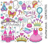 Princess Ballerina Tiara Groovy Fairy Tale Notebook Doodles Set with Tutu Dress, Crown, Magic Wand and more