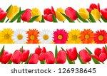 spring flower borders. vector. | Shutterstock .eps vector #126938645