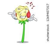 listening music white rose the... | Shutterstock .eps vector #1269407317