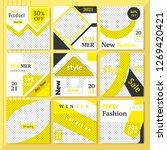 9 slides yellow color unique... | Shutterstock .eps vector #1269420421