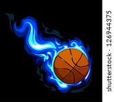 Burning basketball on black background. Vector illustration.