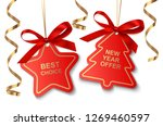 set of red new year or... | Shutterstock .eps vector #1269460597