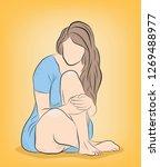 girl sitting on the floor.... | Shutterstock .eps vector #1269488977