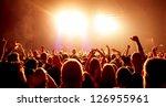 cheering crowd in front of...   Shutterstock . vector #126955961