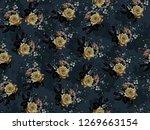 seamless rose flowers material...   Shutterstock . vector #1269663154