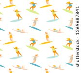 surfers pattern. surfer girls... | Shutterstock .eps vector #1269687841