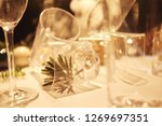 blur many empty glasses on the... | Shutterstock . vector #1269697351