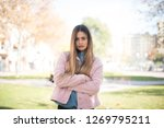 outdoor portrait of grumpy mad... | Shutterstock . vector #1269795211