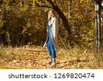 beautiful blond girl in an... | Shutterstock . vector #1269820474
