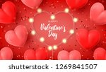 Stock vector happy valentine s day holiday banner vector illustration with d red and pink air balloons red 1269841507