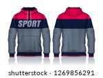 hoodie shirts template.jacket... | Shutterstock .eps vector #1269856291