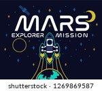 mars mission rocket fly up in...   Shutterstock .eps vector #1269869587
