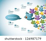 flock of cartoon birds... | Shutterstock .eps vector #126987179