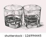 whiskey in two glasses.... | Shutterstock .eps vector #126994445