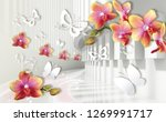 Stock photo  d wallpaper architecture tunnel with orchids and white paper butterflies celebration d 1269991717