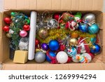christmas tree toys in the box | Shutterstock . vector #1269994294