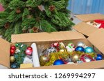 christmas tree decorations in a ... | Shutterstock . vector #1269994297