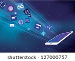 touchscreen tablet with cloud... | Shutterstock .eps vector #127000757