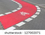cycling path in the city in...