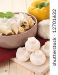 bowl of penne with mushroom... | Shutterstock . vector #12701632