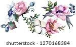 pink floral botanical flower...   Shutterstock . vector #1270168384