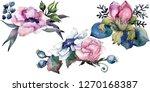 pink floral botanical flower... | Shutterstock . vector #1270168387