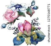 pink floral botanical flower...   Shutterstock . vector #1270168771