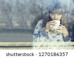 young woman in night dress...   Shutterstock . vector #1270186357