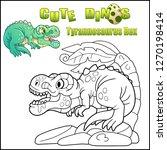 cartoon cute dinosaur... | Shutterstock .eps vector #1270198414