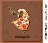 cartoon pizza character slice.... | Shutterstock .eps vector #1270213504