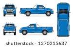 Blue Pickup Truck Vector Mockup ...