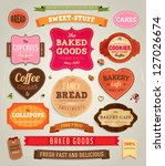 Stock vector set of retro bakery labels ribbons and cards for vintage design old paper textures 127026674