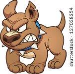 Angry Cartoon Pit Bull Dog.