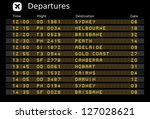 Departure board - destination airports. Vector illustration. Australia destinations: Sydney, Melbourne, Brisbane, Perth, Adelaide, Gold Coast, Canberra, Hobart, Cairns and Darwin.
