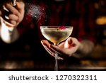 mixologist sprinkling bitter on ... | Shutterstock . vector #1270322311