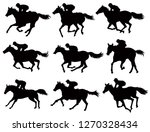 Stock vector horse race silhouettes set 1270328434