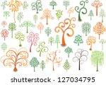 set of stylized trees for... | Shutterstock .eps vector #127034795