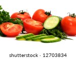 tomatoes  cucumber and parsley... | Shutterstock . vector #12703834