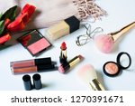 make up products and brushes on ... | Shutterstock . vector #1270391671