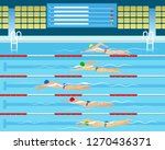 swimmers in pool. male swimming ... | Shutterstock .eps vector #1270436371