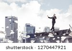 businessman walking blindfolded ... | Shutterstock . vector #1270447921