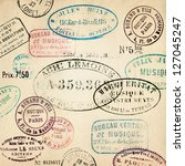 vintage stamps background | Shutterstock . vector #127045247